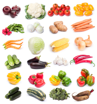 image set of fresh ripe vegetables on white background. See larger versions of each image separately in my portfolio